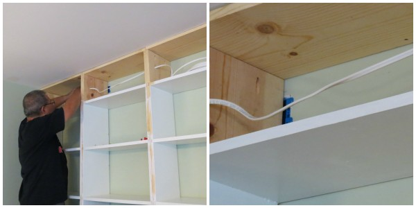 wire built-in bookcase for lighting, Home Is Where My Heart Is featured on Remodelaholic