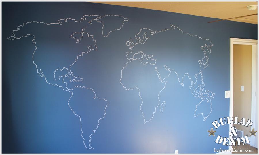 World map wall artstom papel de parede para sala atlas wall diy ombre painted hexagon accent wall gumiabroncs Gallery