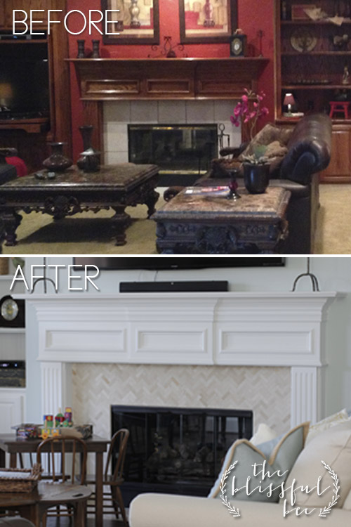 01-10 fireplace makeover, The Blissful Bee