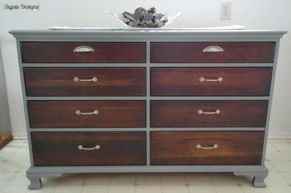 01-10 gray and walnut dresser makeover, Sypsie