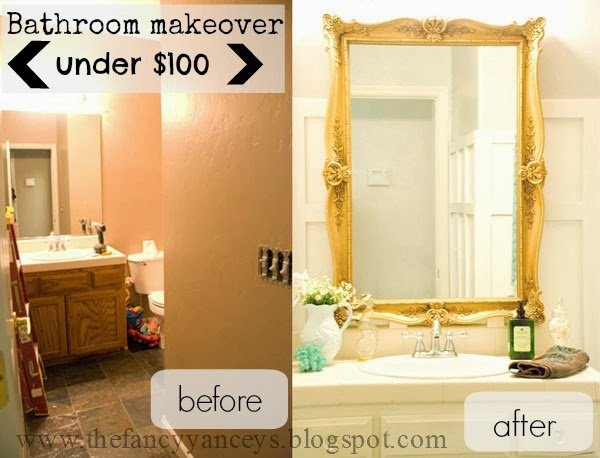 $100 bathroom makeover before and after, Vintage Romance featured on Remodelaholic