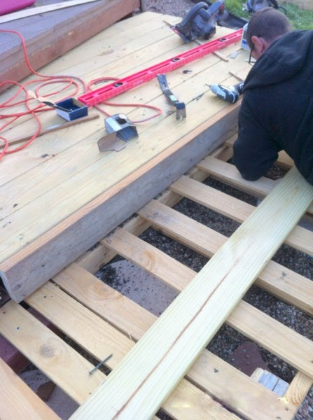 2x6 face frame on a tiered wooden pallet deck, The Second Wind of Texas featured on Remodelaholic