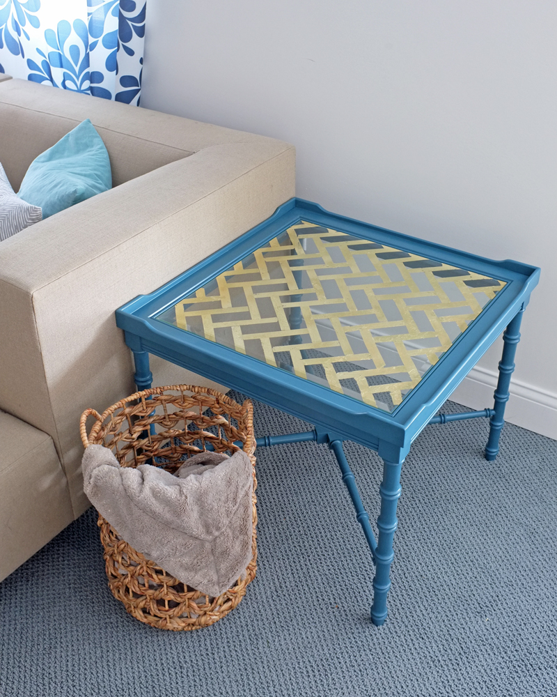 DIY Gold Leaf Glass Table