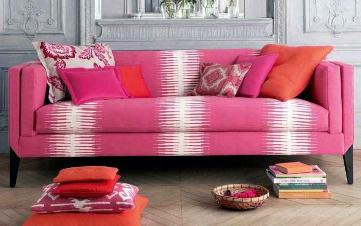 Fuchsia Sofa And Fabrics