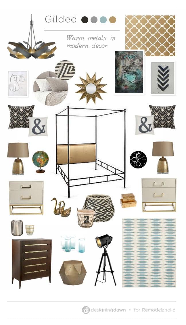 Gilded Mood Board - DesigningDawn for Remodelaholic.com #warmmetals #trending #metallic #olioboard