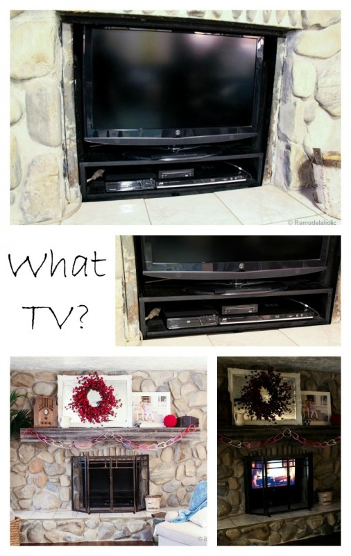 Hide your TV in your unused fireplace Remodelaholic