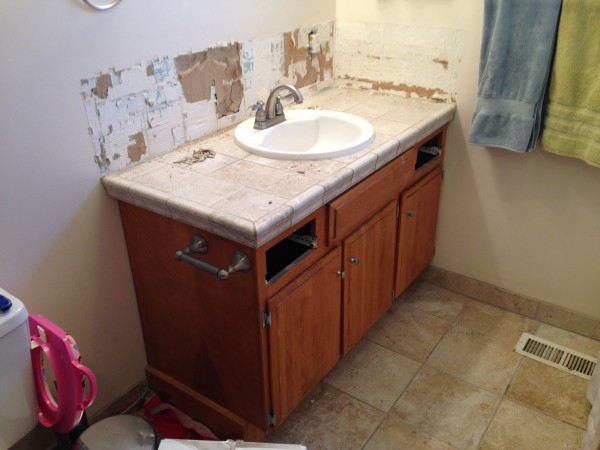 single sink double vanity. IMG 2415 Remodelaholic  Updated Bathroom Single Sink Vanity to Double