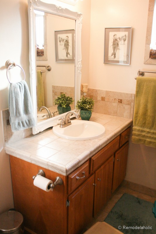 single sink double vanity. Virtu USA vanity bathroom remodel  3 of 41 Remodelaholic Updated Bathroom Single Sink Vanity to Double