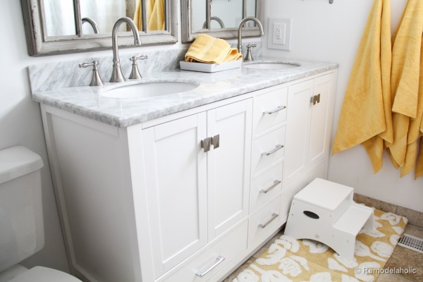 Virtu USA vanity bathroom remodel  32 of 41 Remodelaholic Updated Bathroom Single Sink Vanity to Double