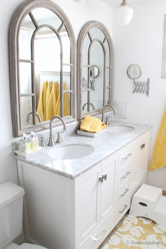 Single Vanity Light Ideas : Remodelaholic Updated Bathroom; Single Sink Vanity to Double Sink