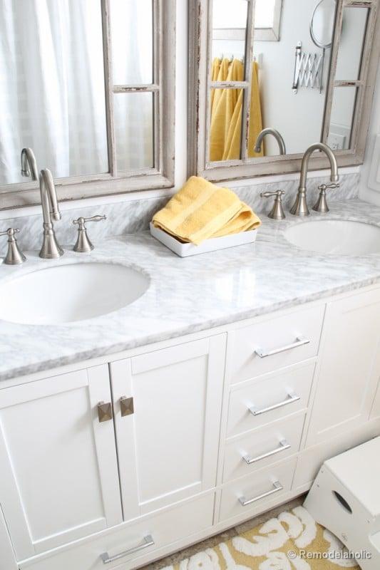 Updated Bathroom Single Sink Vanity to Double Sink