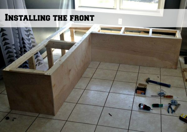 adding a front to the banquette corner bench frames, Pinterior Designer featured on Remodelaholic