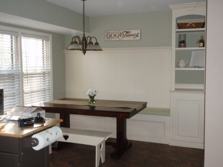 Beautiful Banquette Bench With Built In Shelf, Featured On Remodelaholic