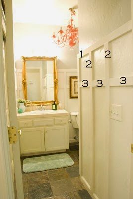 basic board and batten instructions for bathroom makeover, Vintage Romance featured on Remodelaholic