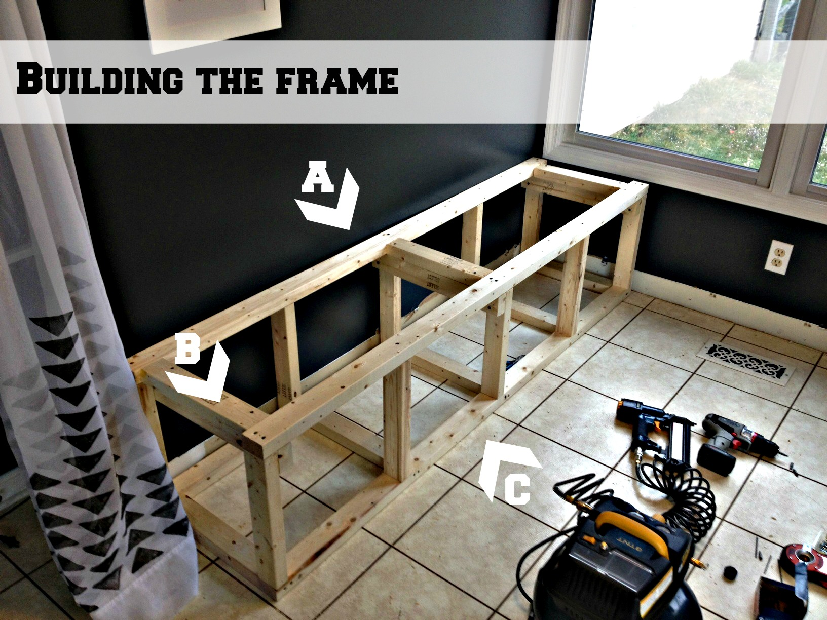 Build a custom corner banquette bench construction for Built in booth