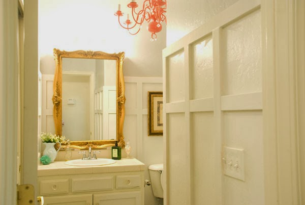 chic budget bathroom makeover, Vintage Romance featured on Remodelaholic
