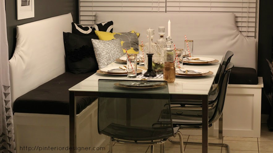Kitchen Table With Built In Bench remodelaholic | build a custom corner banquette bench