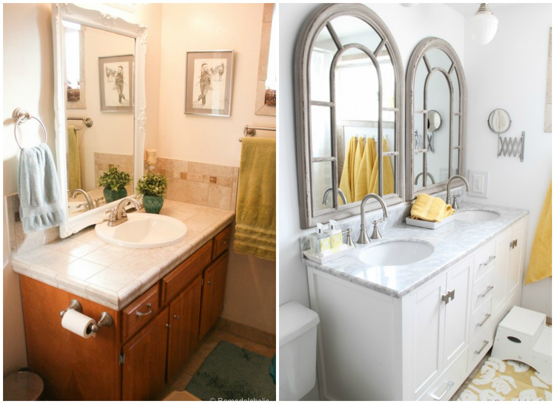 Elegant double sink bathroom vanity before and after Remodelaholic