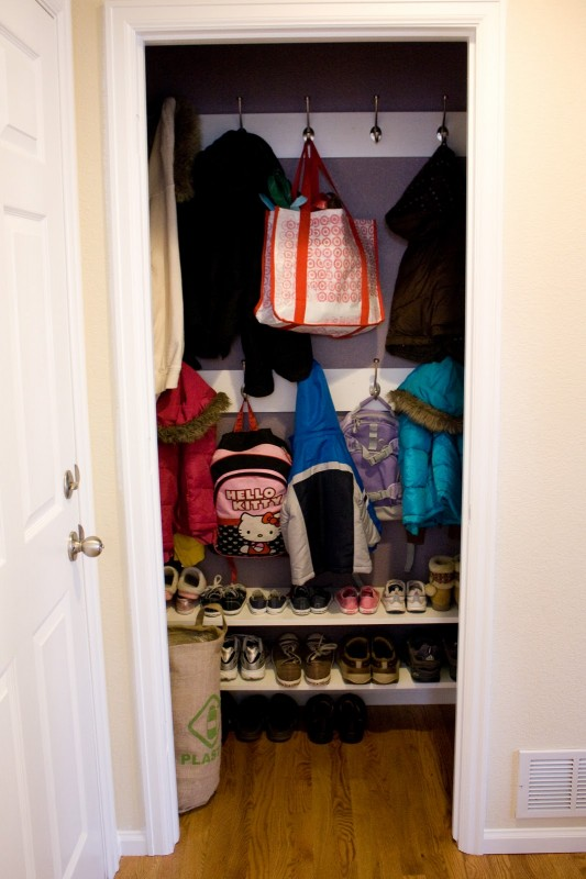 Foyer Closet Zone : Remodelaholic get this look built in drop zone