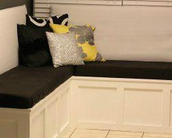 feature DIY custom corner banquette bench, Pinterior Designer featured on Remodelaholic