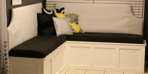feature DIY custom corner banquette bench, Pinterior Designer featured on Remodelaholic