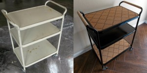 feature salvaged metal cart to swanky bar cart