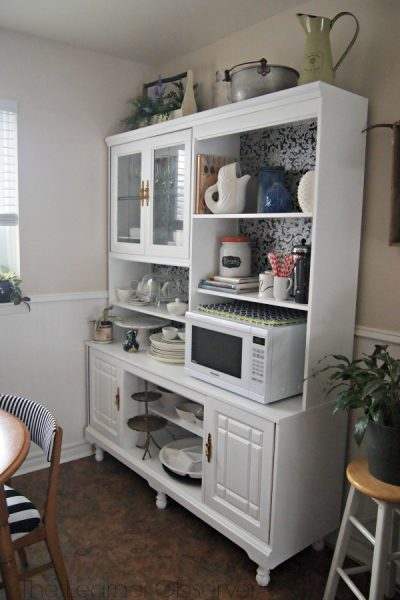 finished kitchen hutch makeover with wrapping paper backing, The Learner Observer featured on Remodelaholic
