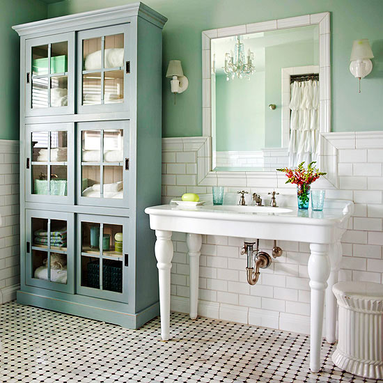 Bathroom Hutch remodelaholic | create a kitchen hutch from an 80's wall unit