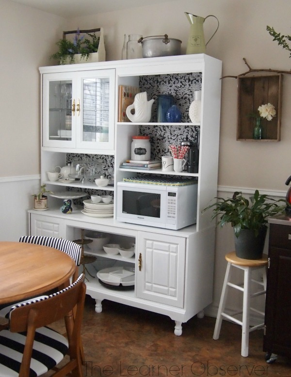Remodelaholic Create A Kitchen Hutch From An 80 S Wall Unit