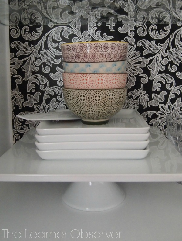 kitchen hutch with wallpaper backing, The Learner Observer featured on Remodelaholic