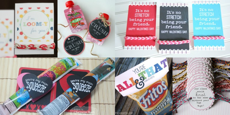 25 Candy-Free Valentines and Printables (including loom bracelets!)