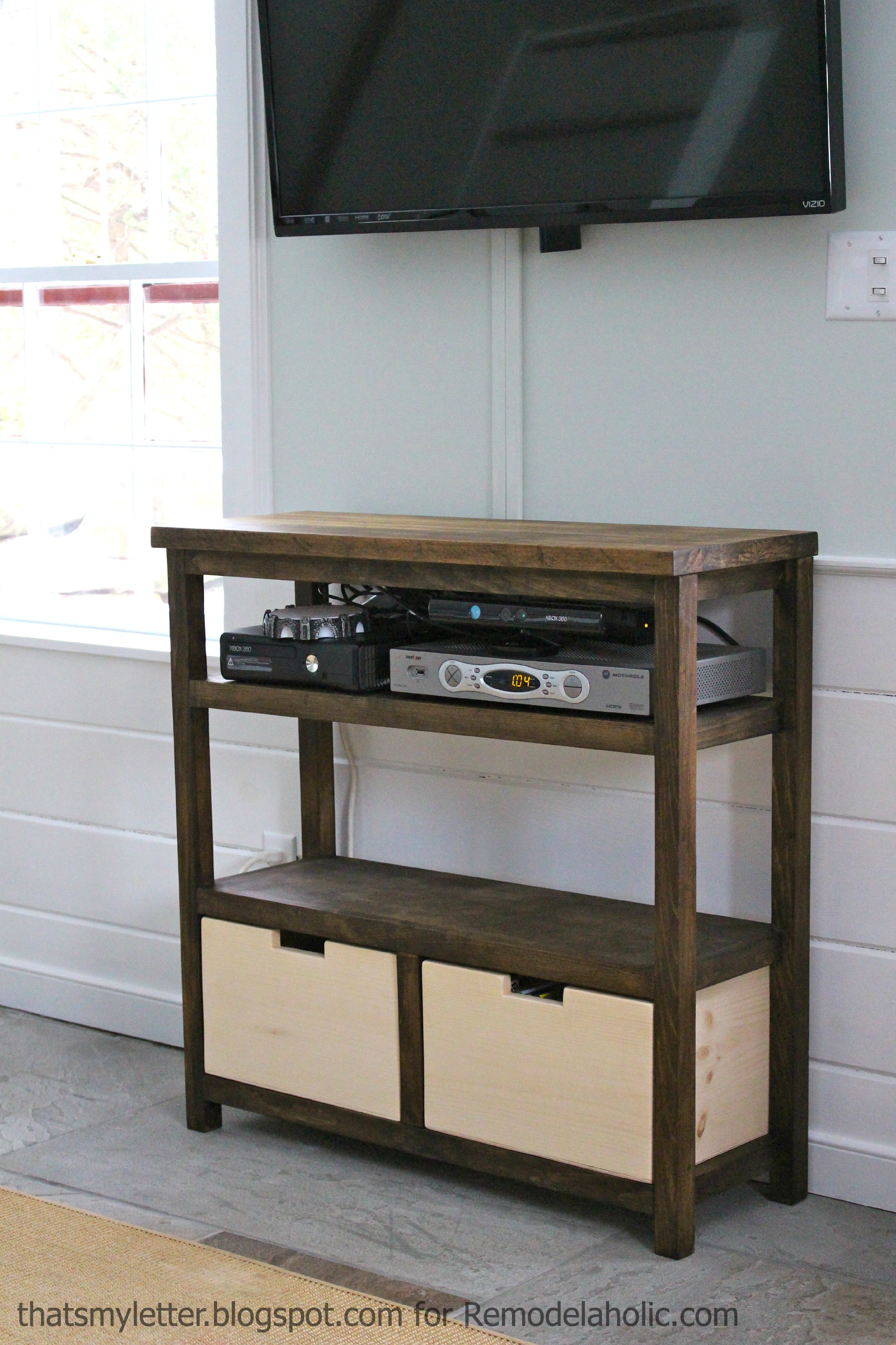 Remodelaholic Build An Open Media Shelf