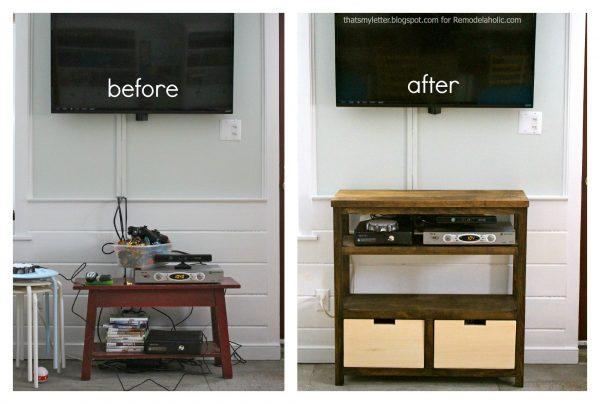 media shelf before & after