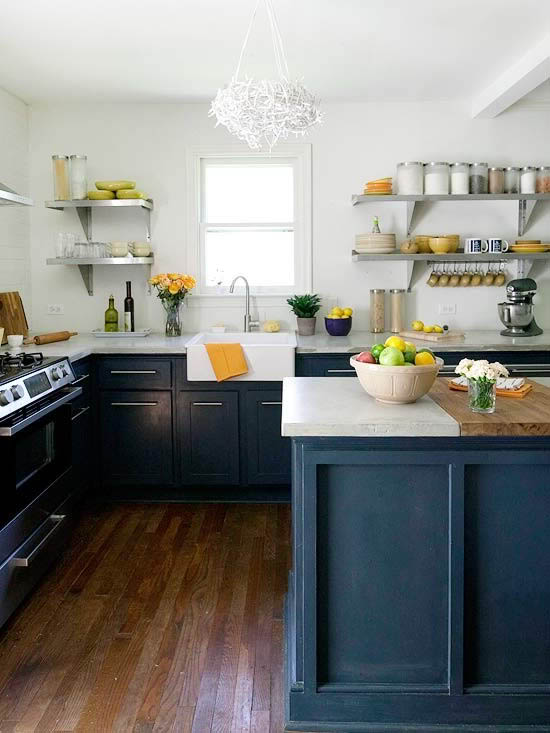 Remodelaholic best colors for your home navy blue for Navy blue kitchen cabinets