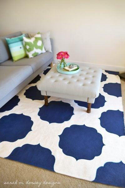 quatrefoil painted rug, Sarah M Dorsey Designs featured on Remodelaholic