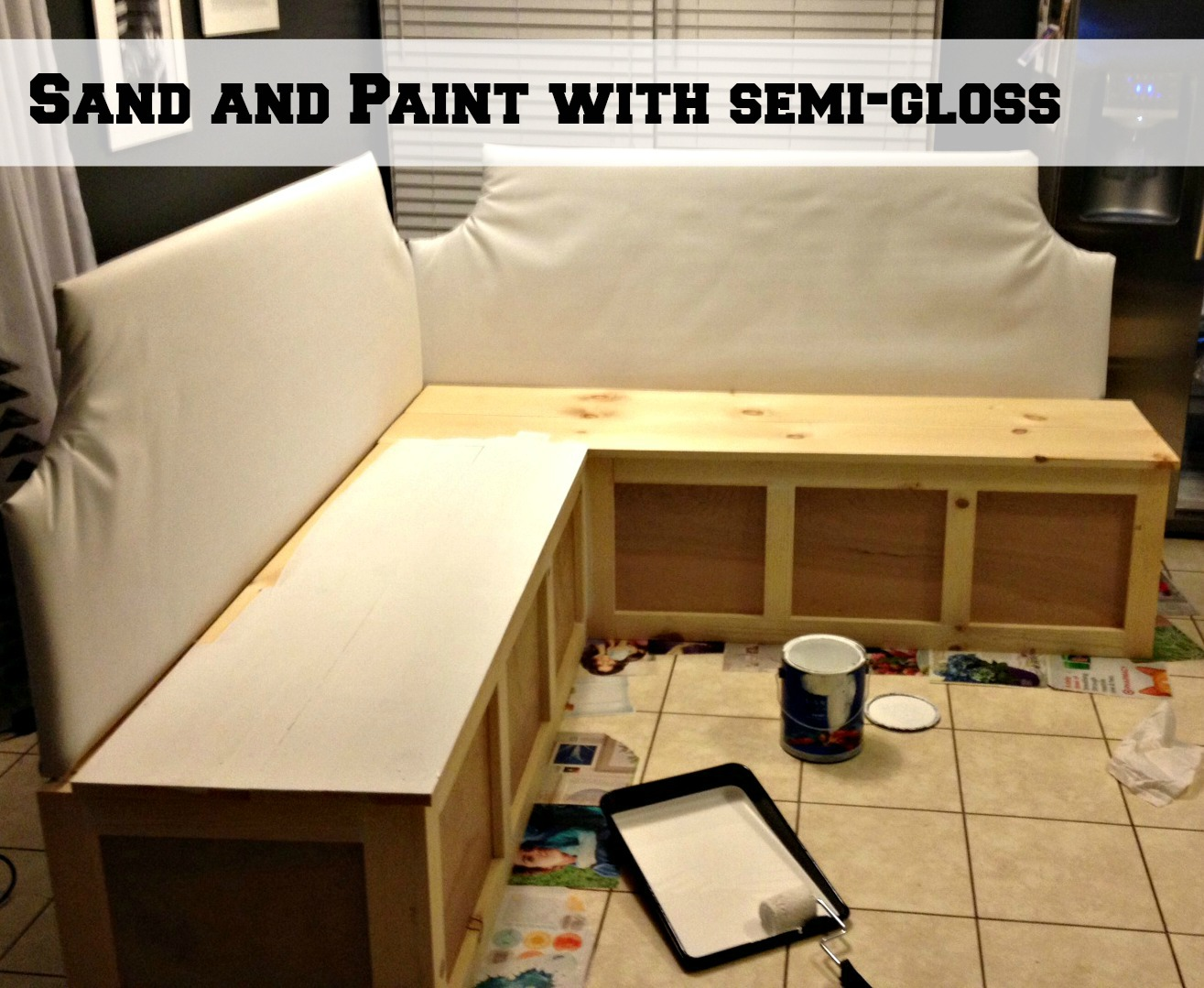 nice How To Build A Booth Bench Part - 20: ... sand and paint corner banquette bench, Pinterior Designer featured on  Remodelaholic