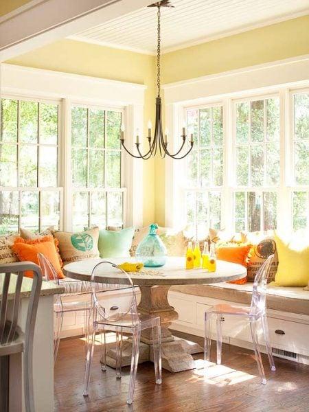 sunny corner banquette bench, BHG via Remodelaholic