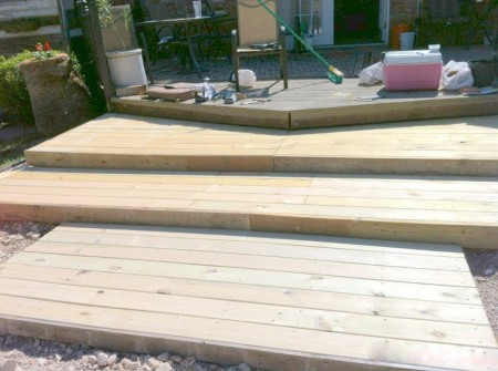 triple-tier wooden pallet deck, The Second Wind of Texas featured on Remodelaholic