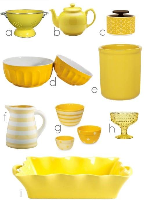 yellow colander b yellow teapot c yellow leaf motif