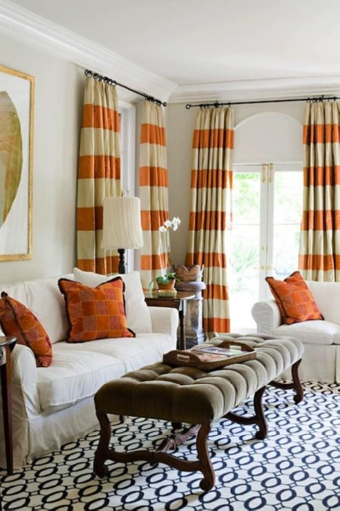 DecorPad Orange Striped Curtains