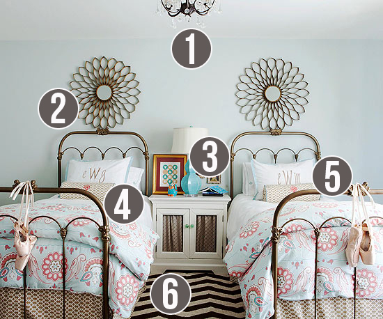 Get This Look - Girls Shared Bedroom Symmetry - Tips from Remodelaholic