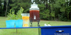 blue beverage station sewing table, The Weekend Country Girl featured on Remodelaholic