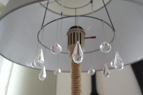 diy chandelier floor lamp makeover, Sypsie Designs featured on Remodelaholic