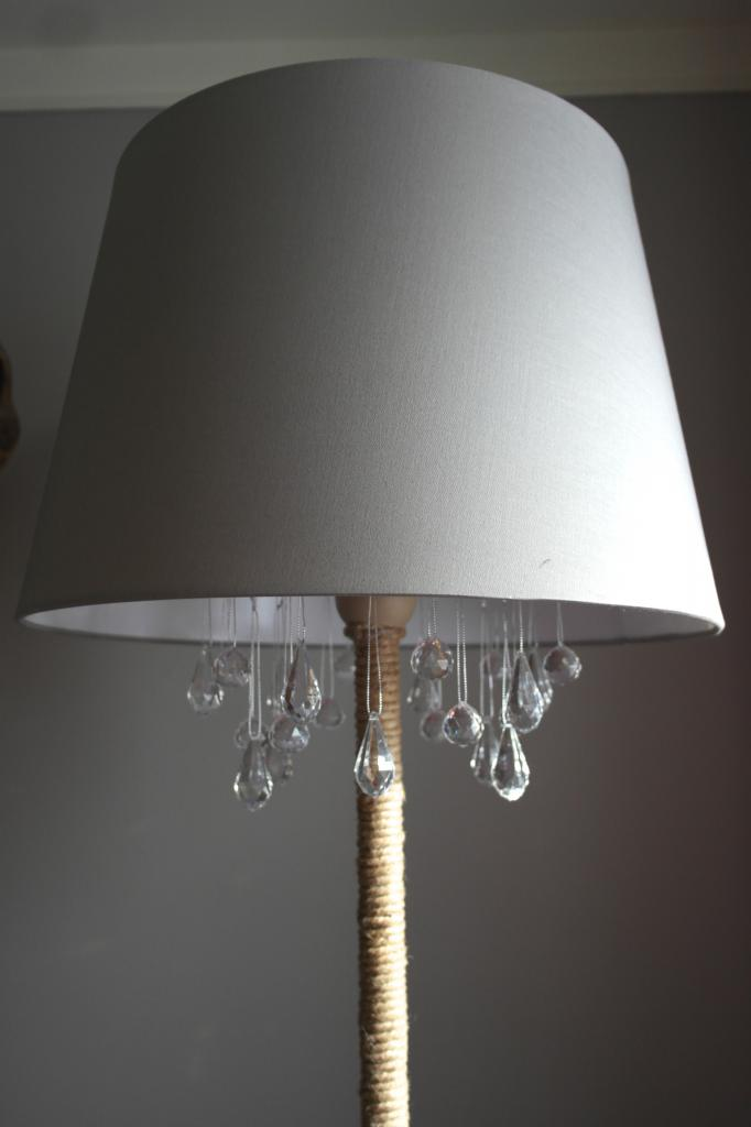 Upcycled DIY Chandelier Lamp Remodelaholic Bloglovin - Upcycled chandelier crystals
