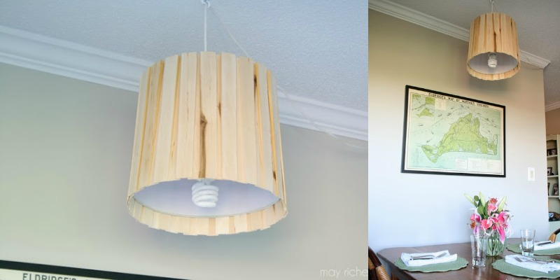 Easy and Inexpensive Wood Shim Pendant Light Tutorial