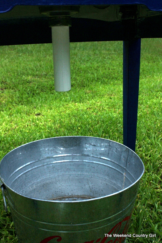 install drain in bottom of sewing table with sink for drink cooler drain, The Weekend Country Girl featured on Remodelaholic