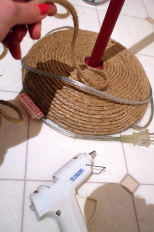 jute rope on an old floor lamp, Sypsie Designs featured on Remodelaholic