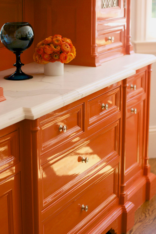 Remodelaholic best colors for your home orange for Best lacquer for kitchen cabinets
