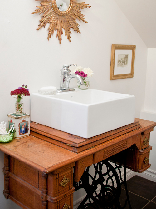 sewing table as bathroom vanity