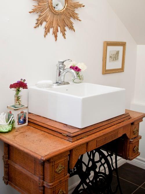 Sewing Table As Bathroom Vanity Via Design Sponge U2026
